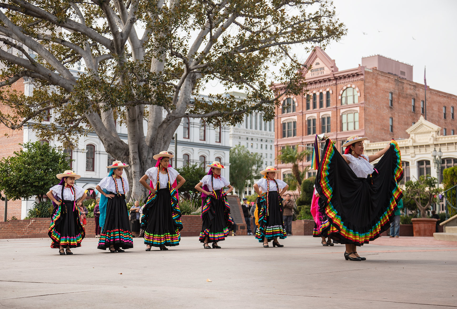 Sunday dance at Plaza Olvera with traditional costumes